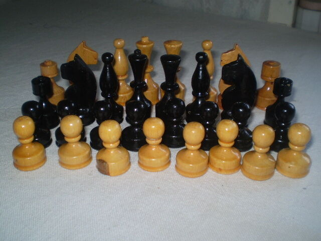 Vintage  small wooden  figures  game of chess