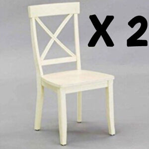 Details about Cross Back Dining Chair 2pc Wood Seat Kitchen Furniture Decor  Antique White New