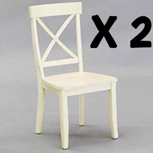 Cross Back Dining Chair 2pc Wood Seat Kitchen Furniture Decor Antique White
