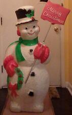 "RARE Large 45"" Poloron Merry Christmas Snowman Blow Mold"