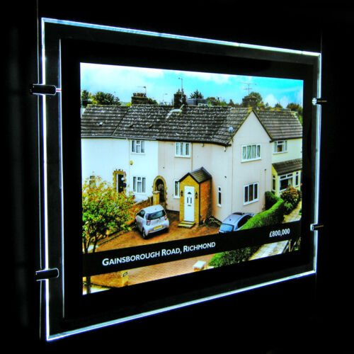 A3 2 Pieces LED Window Light Pocket Panel Estate Agent Display Kit Single Side