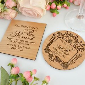 Wedding Favors Coaster.Details About Wooden Coasters Wedding Favors Personalized Drink Coaster Laser Engraved Custom