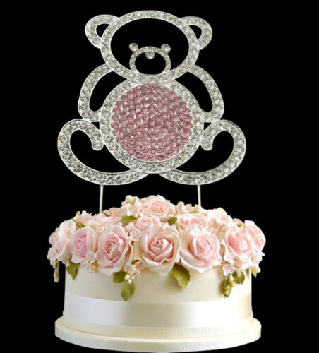 Diamante Rhinestone Gema Torta Cumpleaños Aniversario De Oso Plata Topper UK