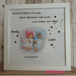 Details Zu Led Bild Taufe Geburt Baby Zwillinge Geschenk Bilderrahmen Name Datum Timer Foto