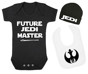 Future Jedi Master Star Wars Inspired Baby Vest Hat and Bib Set Baby gifts