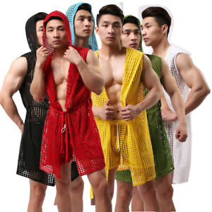Men-039-s-Hollow-Out-Sleepwear-Bathrobe-Underwear-Pajamas-Robes-Homewear-Nightwear