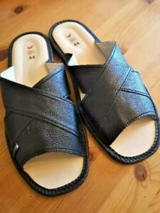 MENS 100% REAL LEATHER SLIPPERS MULES FLIP-FLOP SHOES ALL SIZES