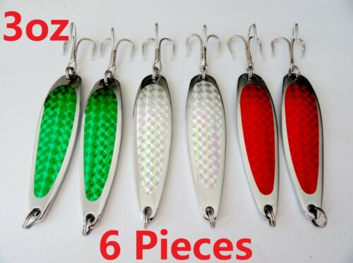 RANDOM 6 Pieces 3oz Casting Crocodile Spoons Fishing Trolling Lures