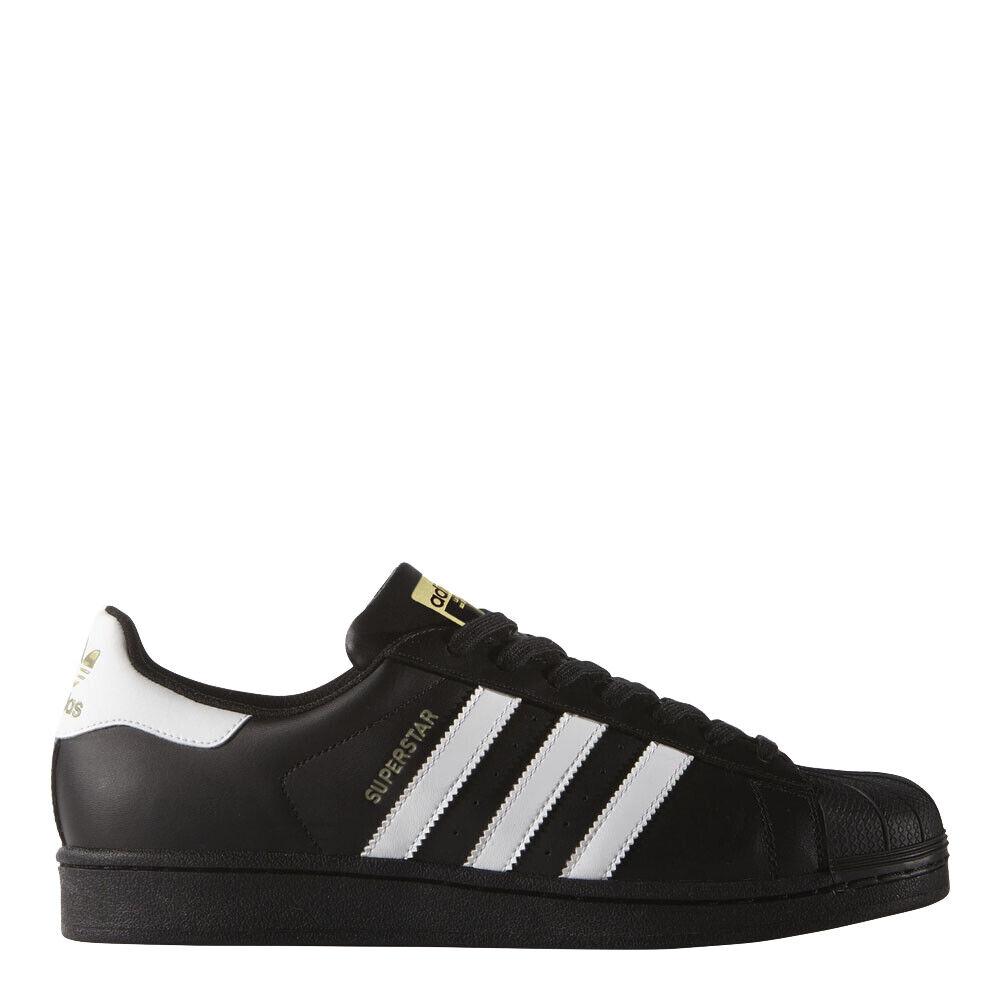 Adidas Men's Originals Superstar shoes  Black White gold - B27140