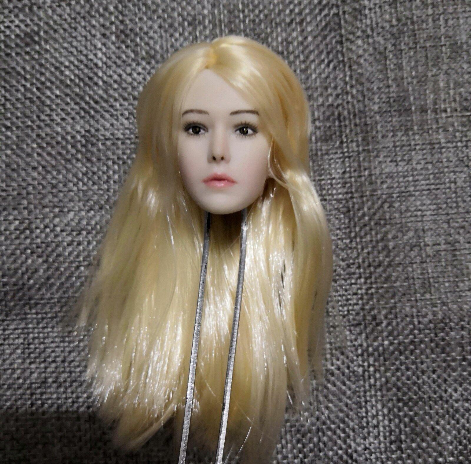 1 6 Head Sculpt Blond Long Hair Head Model PVC Figure For 12 Female Body
