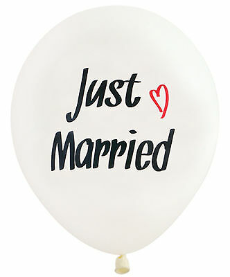 10XLatex White balloon Just Married Heart Wedding Decorations Party Supplies