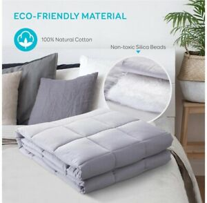 BUZIO Weighted Blanket for Adults, 7 kg Ultra Soft Cotton Heavy Grayish White