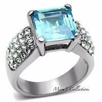 Women's Princess Cut Aquamarine Aaa Cz Stainless Steel Engagement Ring Size 5-10
