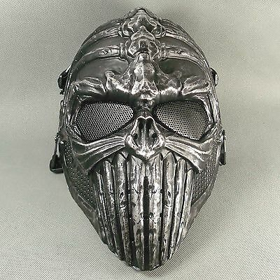 Black and silver Paintball Airsoft Full Face Protection Skull Spine Mask Terror