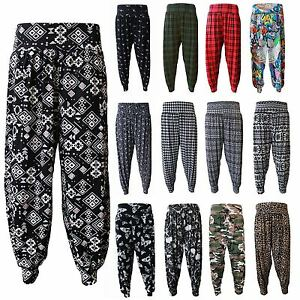 df44d78e049 Ladies Plus Size Printed Harem Pants Womens Cuffed Bottom Ali Baba ...