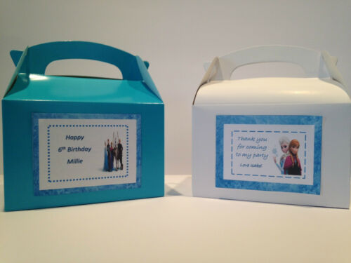 stickers  for party boxes Frozen themed personalised pack of 4  labels bags