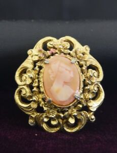 FREE SHIPPING USA Florenza Pink Glass Cameo Brooch Pin Designer Jewelry Cameo Brooch Signed Florenza Great Gift