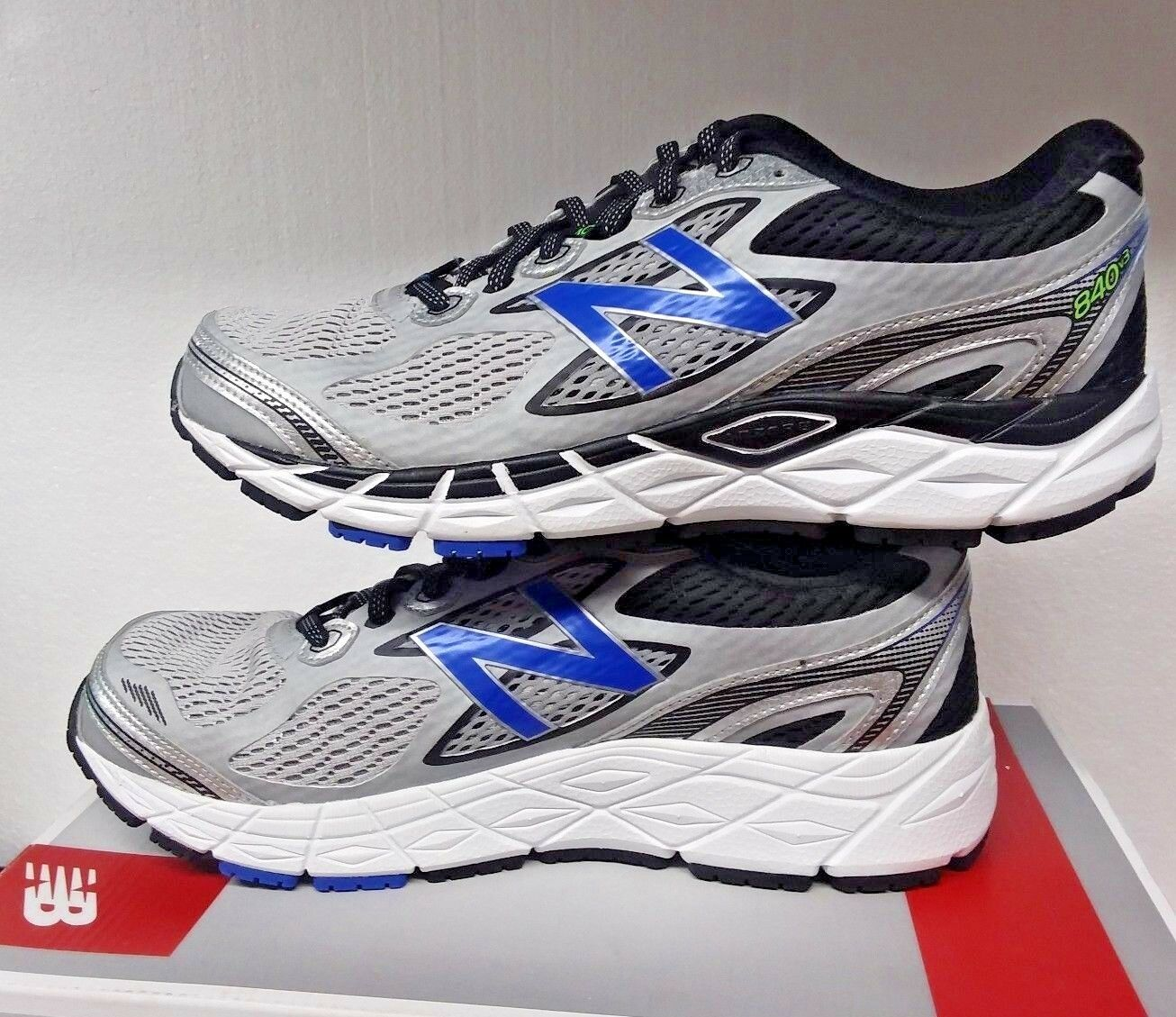 New Balance Men's 840SB3, Running Course,Silver with bluee & Black Mens US 8