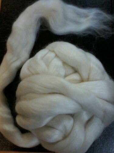 Spin Mohair /& Wool Merino 100gm  White West Aust.Tops Roving Knit Dye Felt