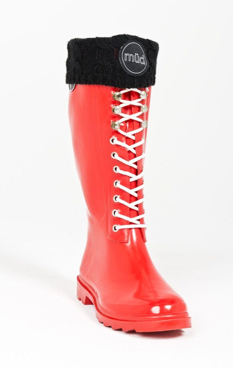 Müd Designer Wellington Boots - Red Lace-up - Rubber