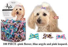 100-Pink Flower,Leopard&Blue Argyle GROSGRAIN RIBBON&BEAD DOG HAIR BOWS Grooming