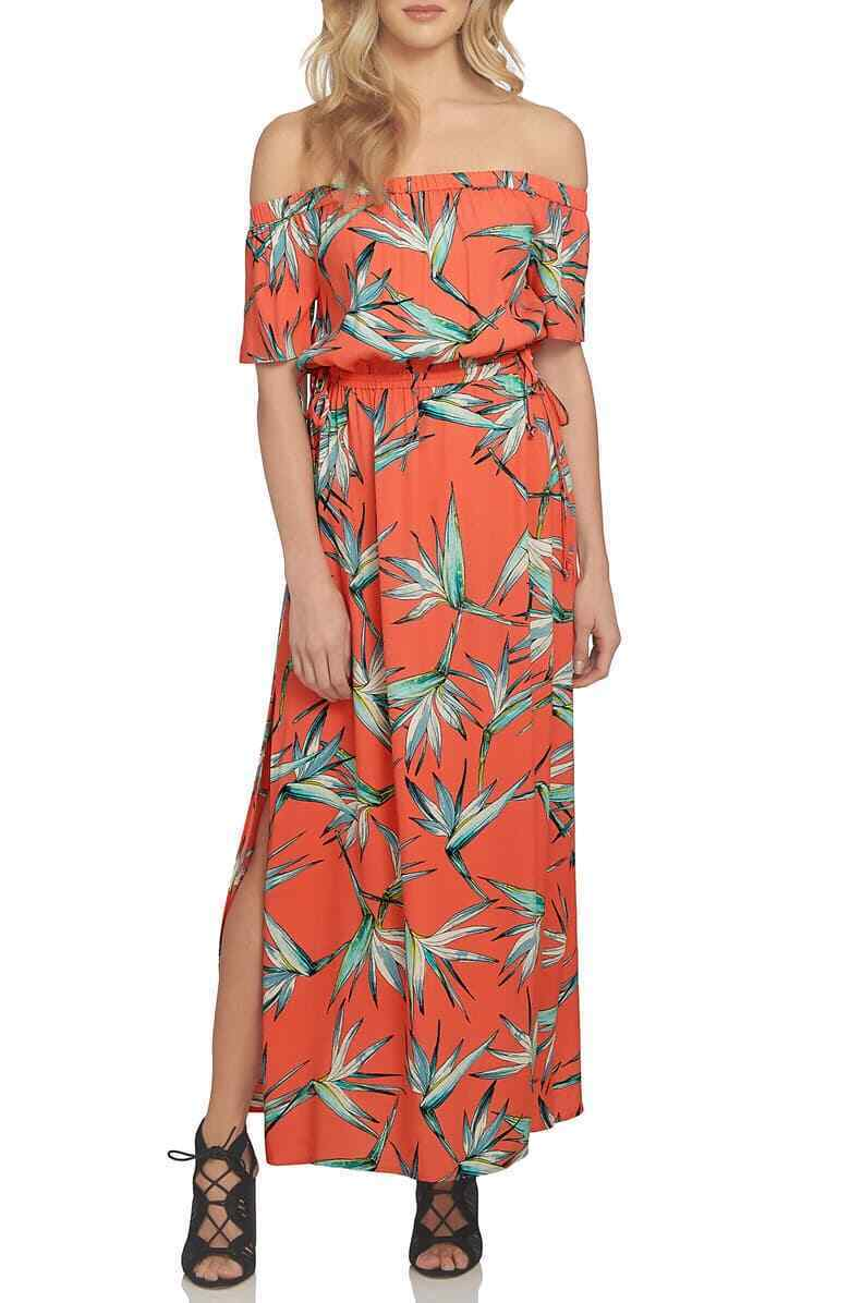 1. ÉTAT Femme Imprimé Off-The-épaule robe longue Größe Corail S