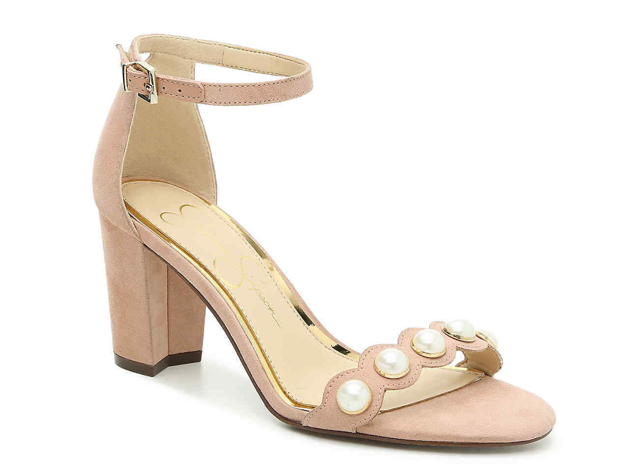 Jessica Simpson Monraley Pink with Pearls Ankle Strap Heels Womens Size 10M NEW