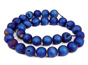 Drusen-Achat-matt-blaue-Kugeln-mit-Kristallen-8-mm-10-mm-amp-12-mm-Perlen
