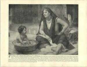 Bridgman-Francis-Arthur-Old-Artwork-Fellahin-and-Child-The-Bath