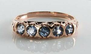 DIVINE-9K-9CT-ROSE-GOLD-CEYLON-SAPPHIRE-ART-DECO-INS-ETERNITY-RING-FREE-RESIZE