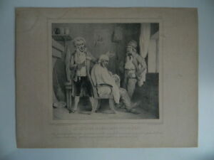 Incisione Mestiere Barbiere Caricatura Cicuta Casa Dupin Bernard Lemercier, XIX