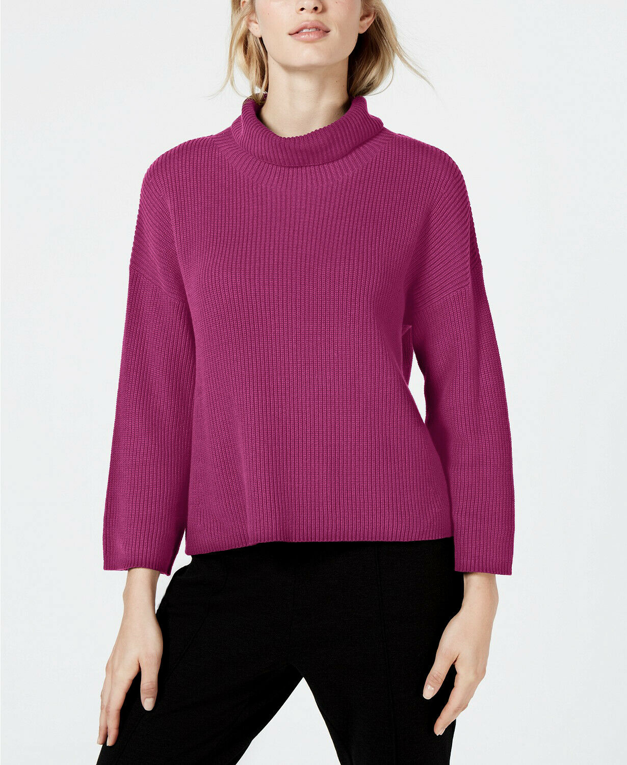 Nouve238 Eileen Fisher L Grand cerise doux en coton organique Sweater