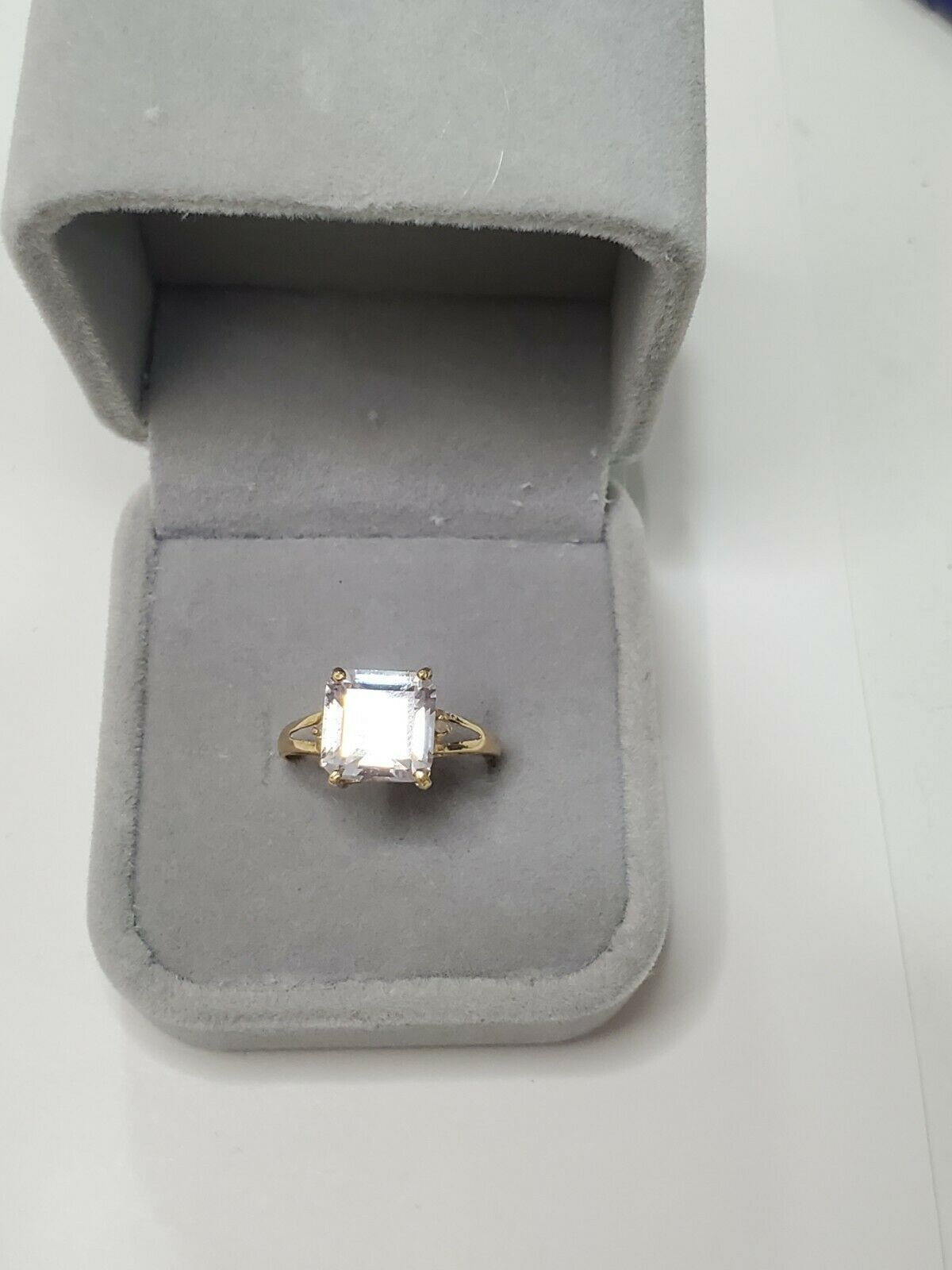 Solid 10k Gold Ring Solitaire Princess Cut  - image 4