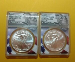2-2021 Silver Eagle TYPE -1 ANACS MS70  First Strike coins. set of 2, # in order