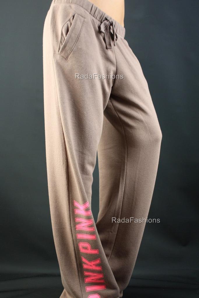 Victoria's Secret PINK Boyfriend Fleece Lounge Logo Taupe Fleece Sweat Pants