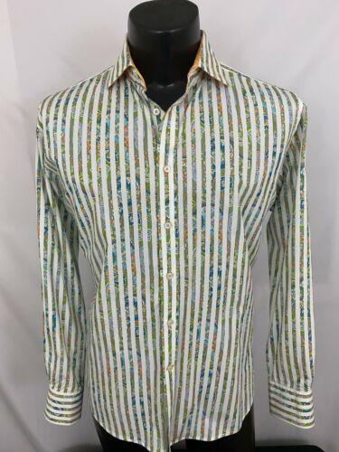 Thomas Dean Button Up Shirt Striped Paisley TD Whi