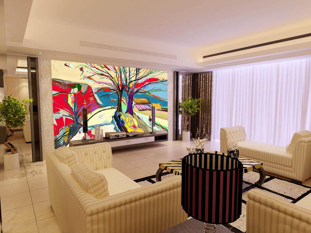 3D Tree Painting 712 Wall Paper Murals Wall Print Wall Wallpaper Mural AU Lemon