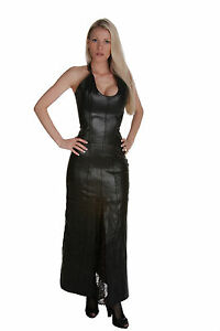 Authentic-Black-Leather-Shaper-Corset-Long-Dress-Fetish-Back-Tight-Lacing-up
