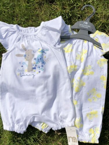 Baby Girls Spanish Style Rompers 0-3 Months Two Pce Lemon 100/% Cotton Mothercare