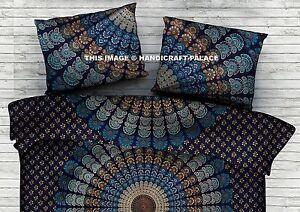 Paon Mandala Imprimé Lit Bleu Housse Oreiller Indien Coton Maison Sofa Déco Taie
