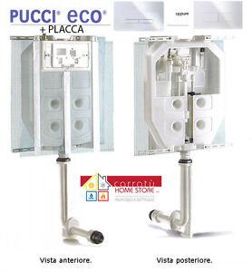 Cassetta Scarico WC ad INCASSO PUCCI ECO + PLACCA SLIM 4.7mm BIANCA ...
