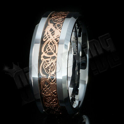 Rose Gold Celtic Dragon Tungsten Carbide Carbon Fiber Band Bridal Silver Ring