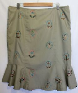 NO-LABEL-Light-Tan-Sand-Beige-Flared-Pencil-Skirt-w-Embroidered-Flowers-20