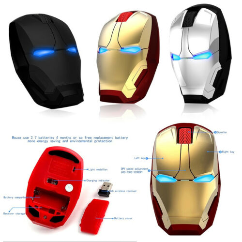 Iron Man Wireless Computer Gaming Mouse Mice Button Silent Adjustable Click