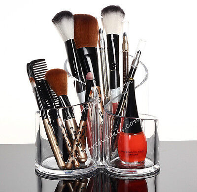 1Pc Acrylic Clear Cylindrical Holder Brush Makeup Cosmetic Organizer Storage Box