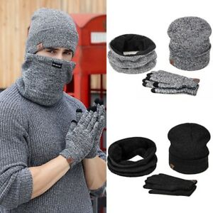 40dc8f57f9d Mens Womens Beanie Hat + Gloves + Scarf Neck Warmer Winter Thermal ...