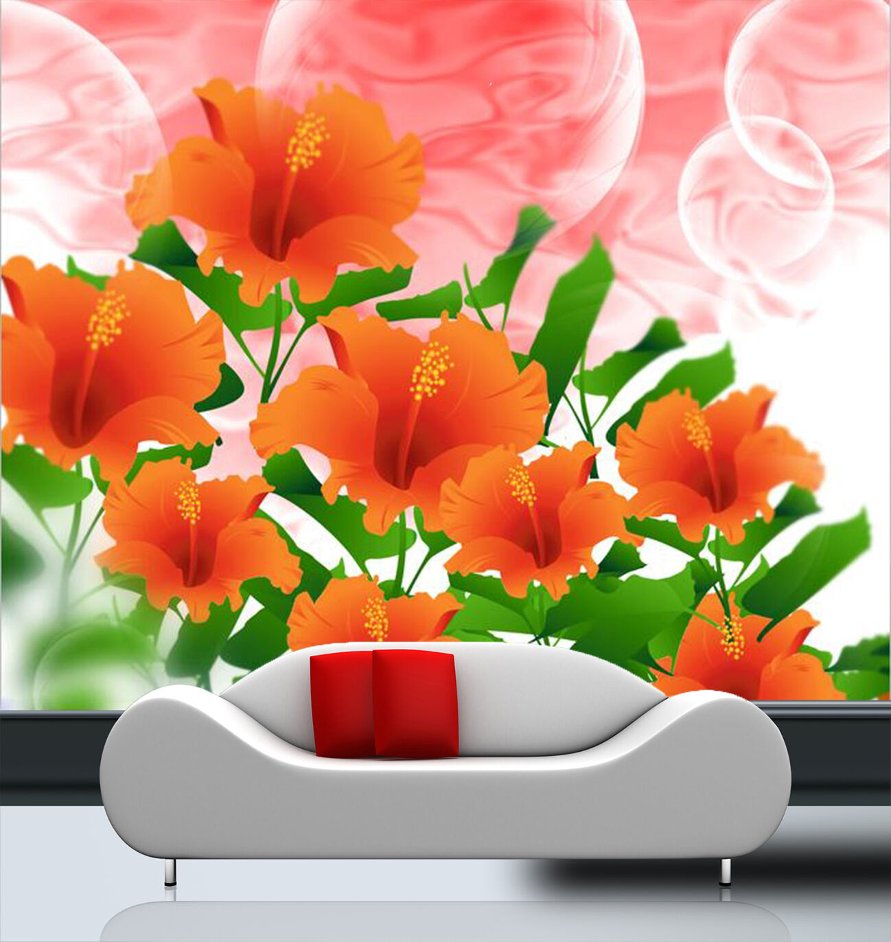 3D Orange Blossom Flower 2 Wall Paper Wall Print Decal Wall Deco Art Indoor Wall