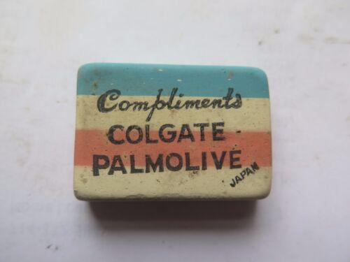 ADVERTISING COLGATE PALMOLIVE SOAP ERASER RUBBER c1950s MADE in JAPAN SHOW BAG