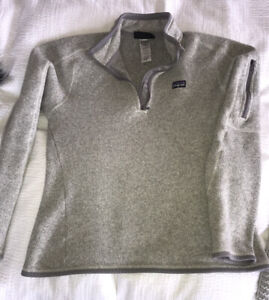 Patagonia Better Sweater Women 1/4 Zip Fleece Pullover Gray medium fits like S