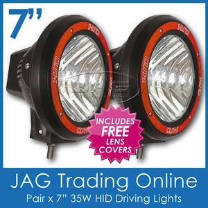 "PAIR 35W HID XENON OFF ROAD DRIVING LIGHTS 7"" DIAM. WITH CLEAR COVERS- EURO BEAM"